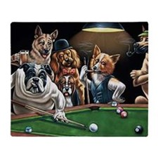 Dogs Playing Billiards Throw Blanket