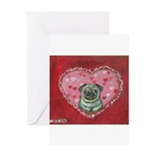 Pug Valentine xoxo Greeting Cards