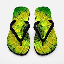 Lemon Lime Mandala Flip Flops