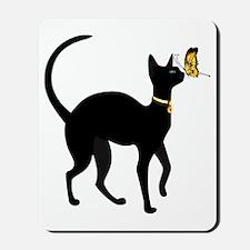 Elegant Black Cat with Gold Collar  Butt Mousepad