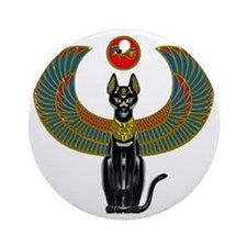 Ornate Eqyptian Cat Godess Round Ornament