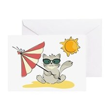 Cool Beach Cat with Umbrella and Sun Greeting Card