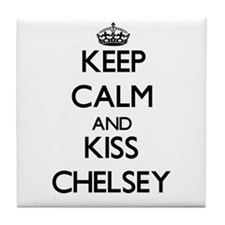 Keep Calm and kiss Chelsey Tile Coaster