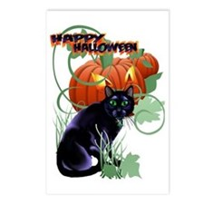 Black Halloween Cat and G Postcards (Package of 8)