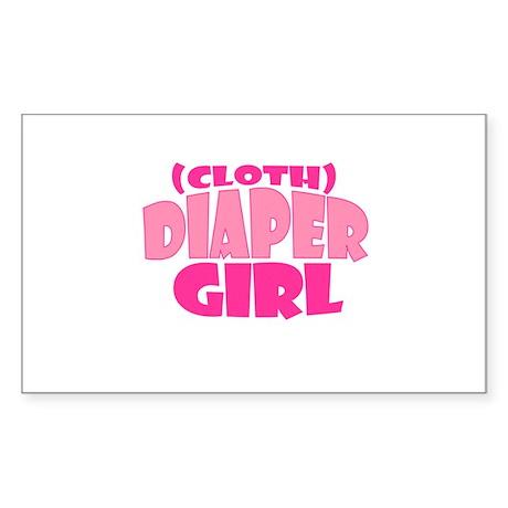 Cloth Diaper Girl Rectangle Sticker
