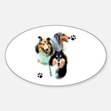 Collie Trio Oval Decal