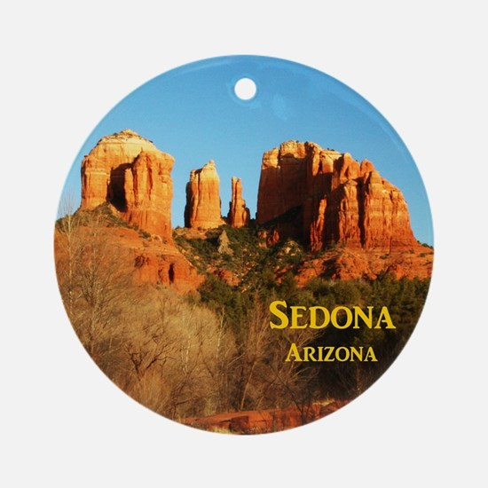 Sedona_11x9_CathedralRocks Round Ornament