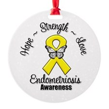 Hope Strength Love Endometriosis Ornament