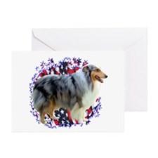 Collie Patriot Greeting Cards (Pk of 10)