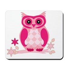 Cute Pink Owl Mousepad