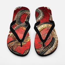 Hokusai Red Water Dragon Flip Flops