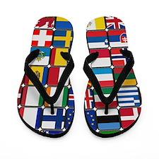 European Flag Patchwork Flip Flops