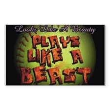 Plays Like A Beast Fastpitch Softball Decal