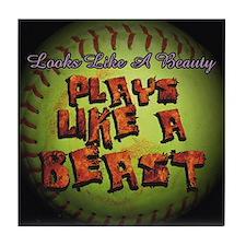 Plays Like A Beast Fastpitch Softball Tile Coaster