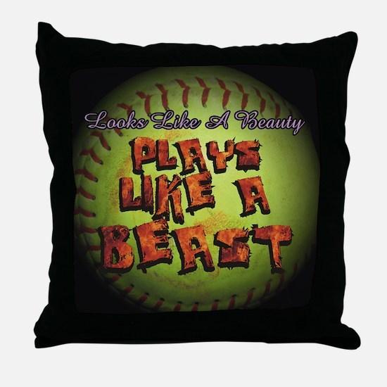 Plays Like A Beast Fastpitch Softball Throw Pillow