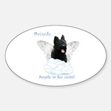 Briard Angel Oval Decal