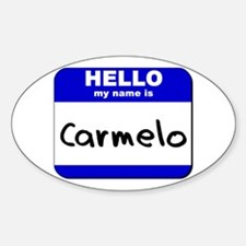 hello my name is carmelo Oval Decal