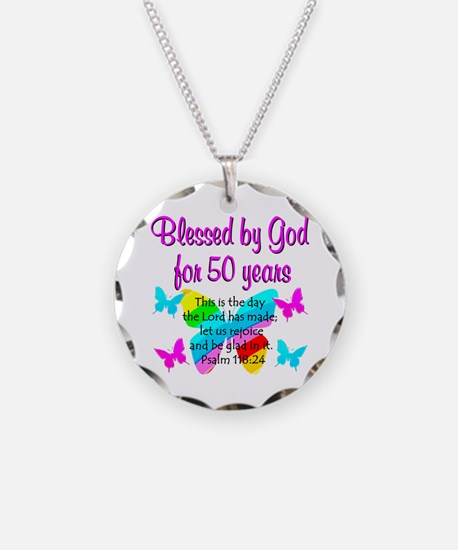 DELIGHTFUL 50TH Necklace Circle Charm