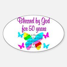 DELIGHTFUL 50TH Sticker (Oval)