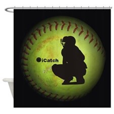 Icatch Fastpitch Softball Shower Curtain