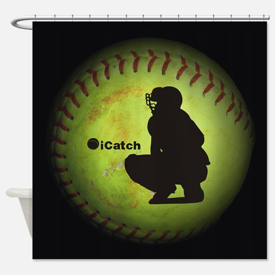 Icatch Fastpitch Softball Shower Curtain