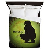 Softball catcher Queen Duvet Covers