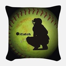 iCatch Fastpitch Softball Woven Throw Pillow