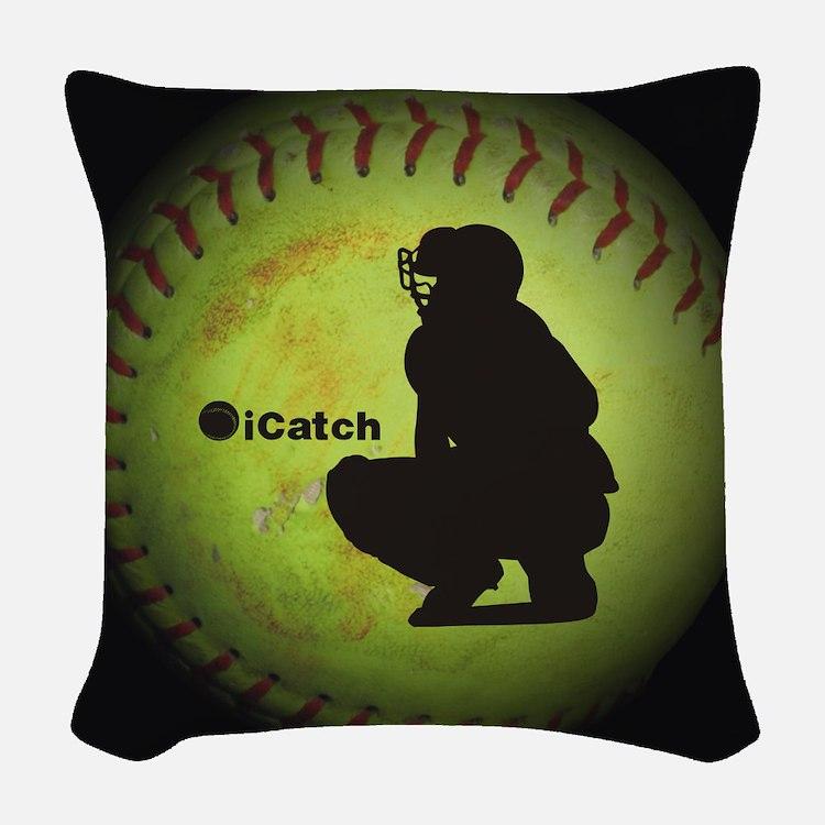 iCatch Fastpitch Softball Woven Throw Pillow
