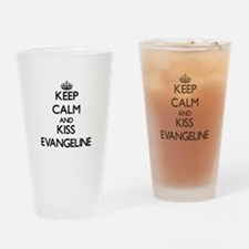 Keep Calm and kiss Evangeline Drinking Glass