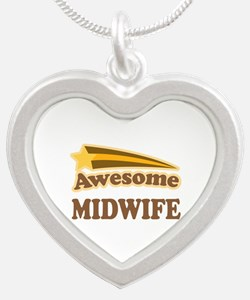 Awesome Midwife Silver Heart Necklace