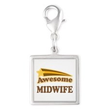 Awesome Midwife Silver Square Charm