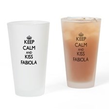 Keep Calm and kiss Fabiola Drinking Glass