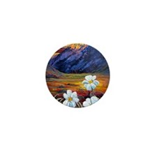 Mt Cook Mountain Daisies - By Helen Bl Mini Button