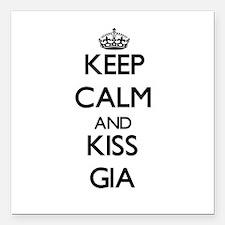"Keep Calm and kiss Gia Square Car Magnet 3"" x 3"""
