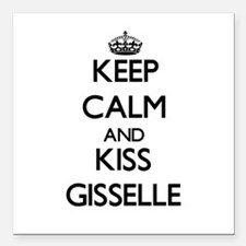 """Keep Calm and kiss Gisselle Square Car Magnet 3"""" x"""