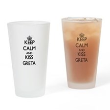 Keep Calm and kiss Greta Drinking Glass