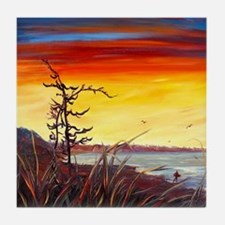 Red Sunset - By Helen Blair Tile Coaster