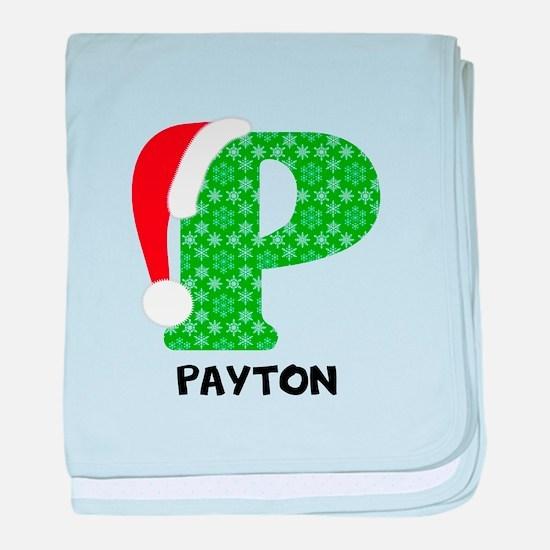 Christmas Letter P Monogram baby blanket