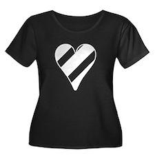 Striped Heart Plus Size T-Shirt