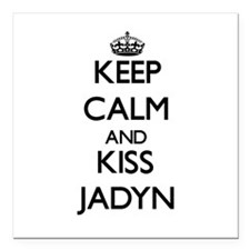 "Keep Calm and kiss Jadyn Square Car Magnet 3"" x 3"""