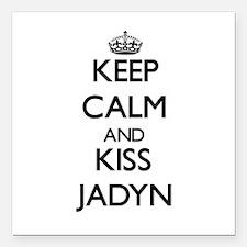 "Keep Calm and kiss Jadyn Square Car Magnet 3"" x 3"""