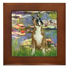 Boxer (1) in Monet's Lilies Framed Tile