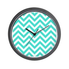 Turquoise chevrons Wall Clock