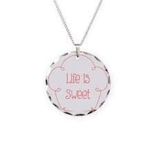 Life Is Sweet Cupcake Quote Necklace