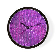 Purple Sequin Pattern Wall Clock
