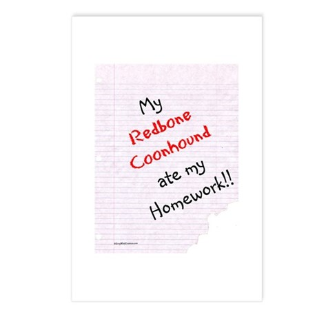 Coonhound Homework Postcards (Package of 8)