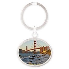 Golden Gate Bridge (labeled) Oval Keychain