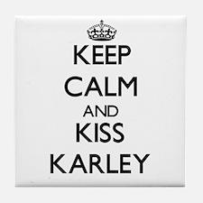 Keep Calm and kiss Karley Tile Coaster