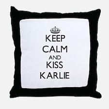 Keep Calm and kiss Karlie Throw Pillow