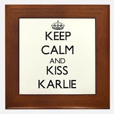 Keep Calm and kiss Karlie Framed Tile